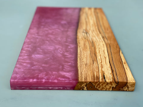 Spalted Beech Wood & Pink Fuschia Resin Serving Board