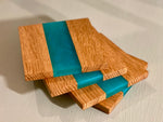 Oak & Turquoise Resin Strip Coasters