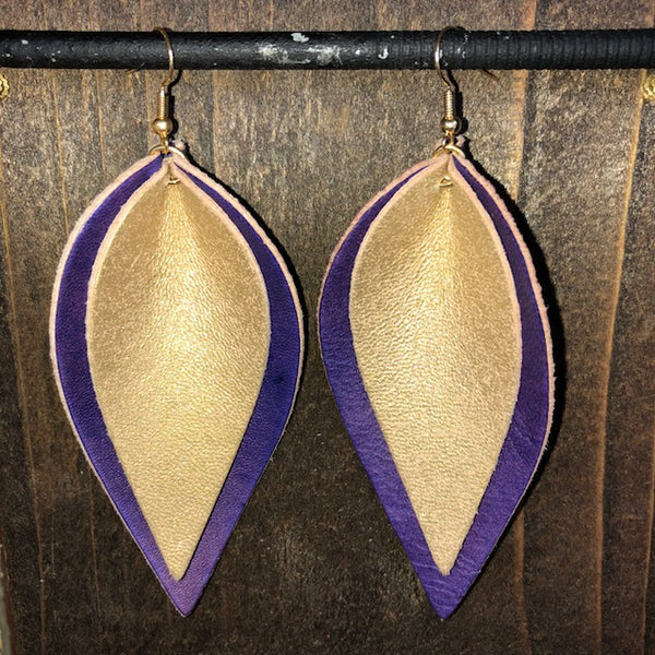 PURPLE AND GOLD DOUBLE LEAF EARRINGS