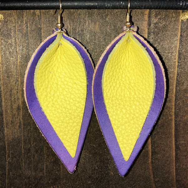 PURPLE AND YELLOW DOUBLE LEAF EARRINGS