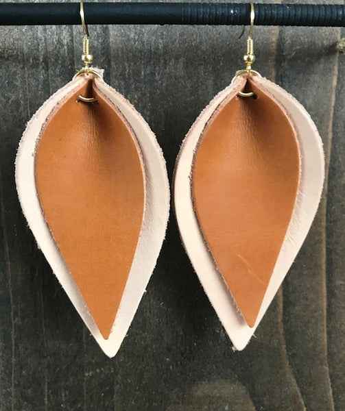 NATURAL AND ORANGE DOUBLE LEAF EARRINGS