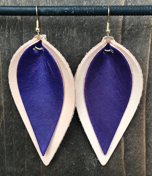 NATURAL AND PURPLE DOUBLE LEAF EARRINGS