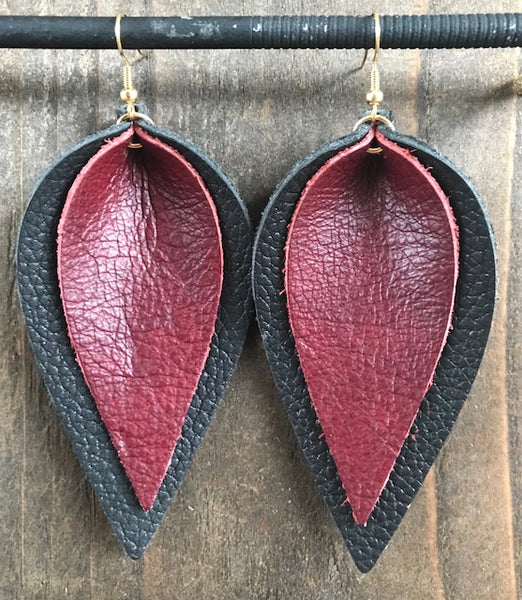 BLACK AND MAROON DOUBLE LEAF EARRINGS