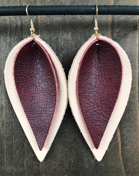 NATURAL AND MAROON DOUBLE LEAF EARRINGS