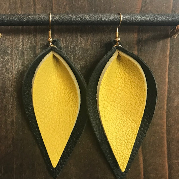 BLACK AND YELLOW DOUBLE LEAF EARRINGS
