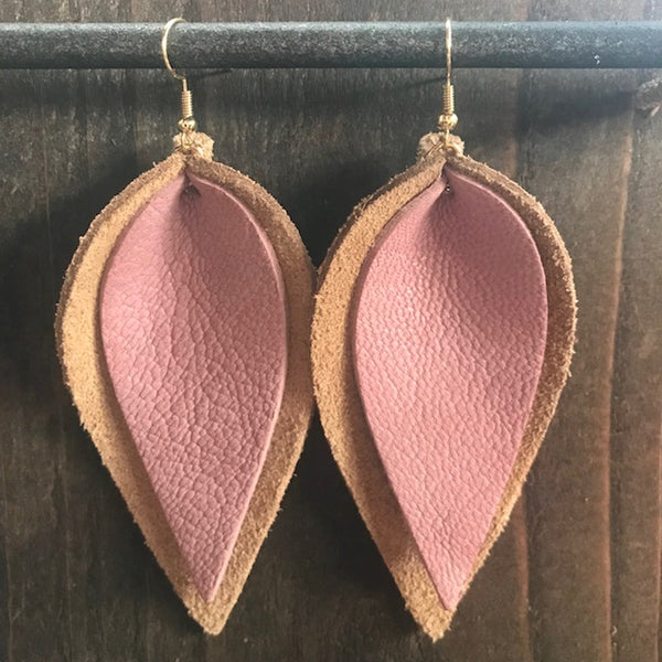 SUEDE AND ROSÈ DOUBLE LEAF EARRINGS