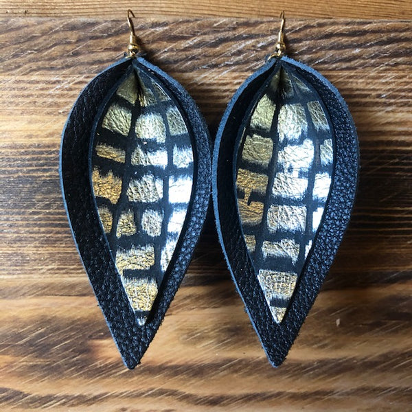 BLACK AND BLACK/GOLD DOUBLE LEAF EARRINGS