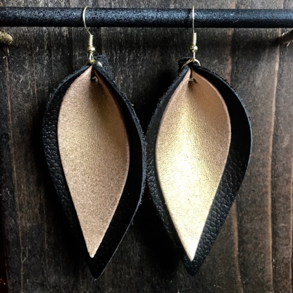 BLACK AND GOLD DOUBLE LEAF EARRINGS