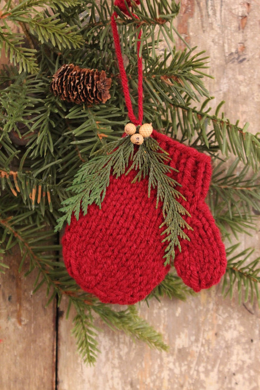 CD-1313 Red Knitted Mitten Ornaments - Set of 2