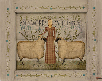 CWP-SWF She Seeks Wool & Flax Board Sign