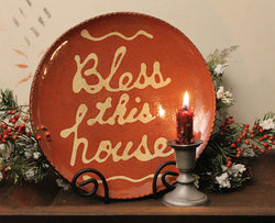 DTS-1361 Bless this House Redware Plate