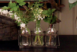 NET-3BH Three Glass Bottles & Metal Floral Holder