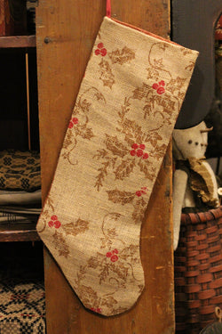 NV-ST2 Lg Burlap Holly Stocking