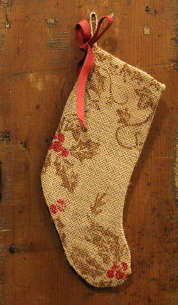 NV-ST1 Sm Burlap Holly Stocking