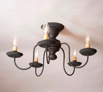 IR-FMC Thorndale Flush Mount Wood Chandelier - Black over Red