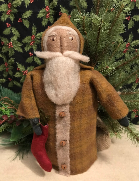 EC-MS Santa in Mustard Wool Coat with Red Stocking