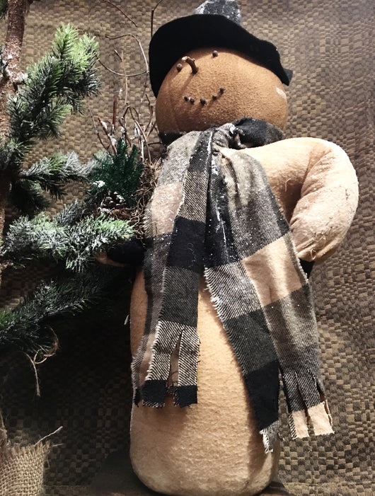 PCH-01 Tall Snowman with Pinecone, Sticks & Black Plaid Scarf