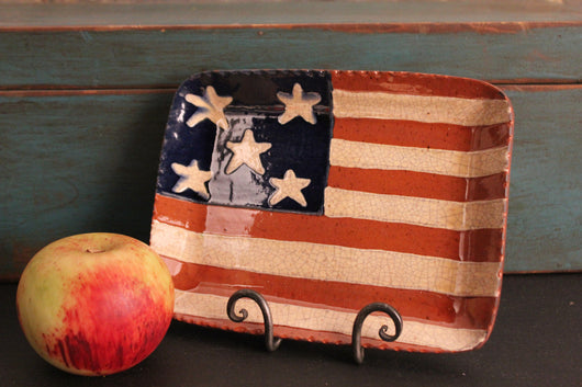 DTS-0327-10 Redware Tray [American Flag - 5 Stars]