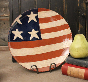 DTS-1916 Americana Flag Redware Plate