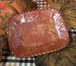 DTS-109 Sm Redware Leaves Tray