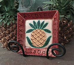 KS-1492 Square Pineapple Redware Tray