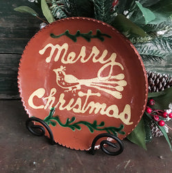 DTS-106 Merry Christmas & Bird Redware Plate