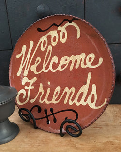 DTS-108 Welcome Friends Redware Plate