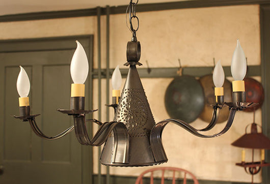 IR-SSC Sturbridge 5 Arm Punched Tin Chandelier
