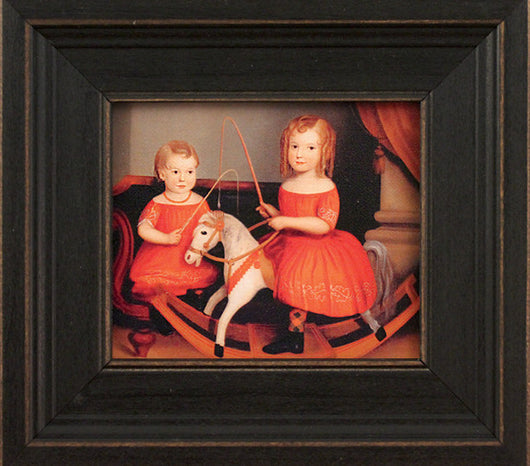 MB-2G Two Girls in Red Framed Canvas