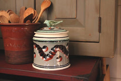 SJP-GJ Green Mochaware Jar w Bird Top