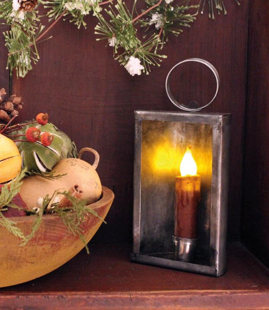TP-1382 Tin Mantel Lantern w Battery Candle