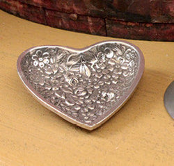 TPH-PH Pewter Floral Heart Tray
