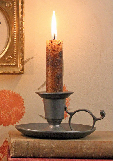 TPH-RCS Round Fingerhold Pewter Candlestick
