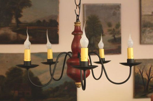 VC-01-5 Wood Turned 5 Arm Chandelier