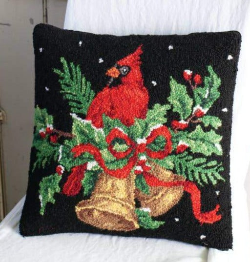 PH-024 Cardinal with Bells Wool Hooked Pillow