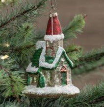 RA-027 Mercury Glass Church Ornament