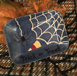 KS-007 Spider Trick or Treat Redware tray