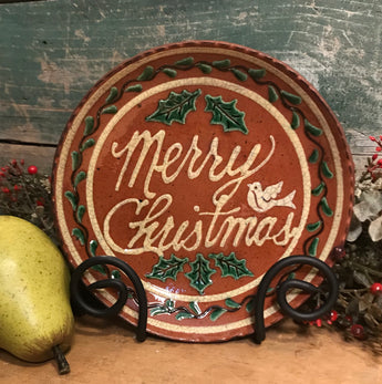 DTS-X28 Merry Christmas Redware Plate