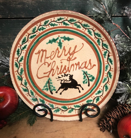 DTS-X18 Merry Christmas Stag Redware Plate
