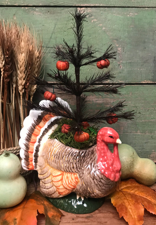 NV-7 Turkey Feather Tree with Putka Pod Ornaments
