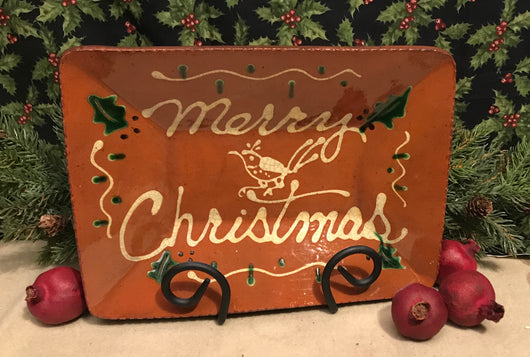 DTS-CP14 ~ Merry Christmas Redware Tray with Bird