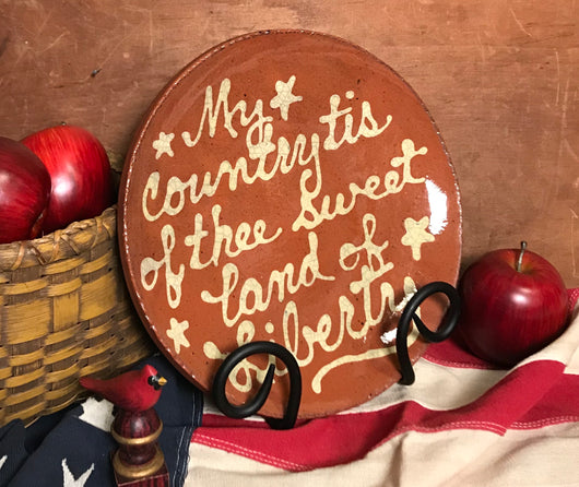 DTS-2011 My Country Tis of Thee Redware Plate