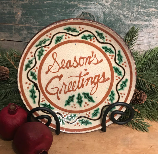 DTS-X24 Season's Greetings Redware Plate
