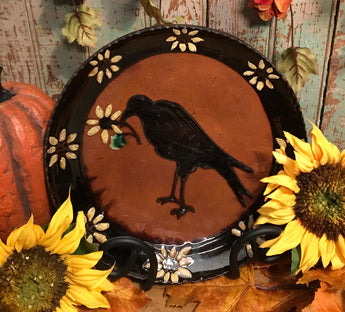 DTS-F08 Crow & Sunflowers Redware Plate