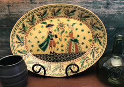 DTS-0807 Sgraffito Couple Redware Platter