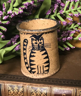 CC-2001 Mini Pottery Crock with Cat & Bird