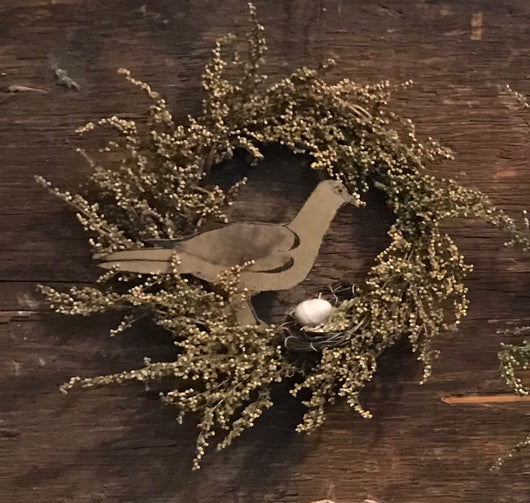 CD-1938 Paper Bird with Nest Grapevine Wreath
