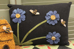 LE-BPIL Felt Pillow with Dimensional Flowers & Bees