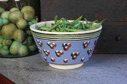 SJP-LMB1 Lg Mochaware Bowl - Blue with Dots