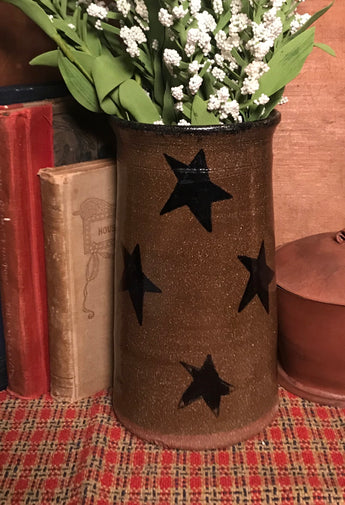 CC-2019 Pottery Tall Crock with Stars